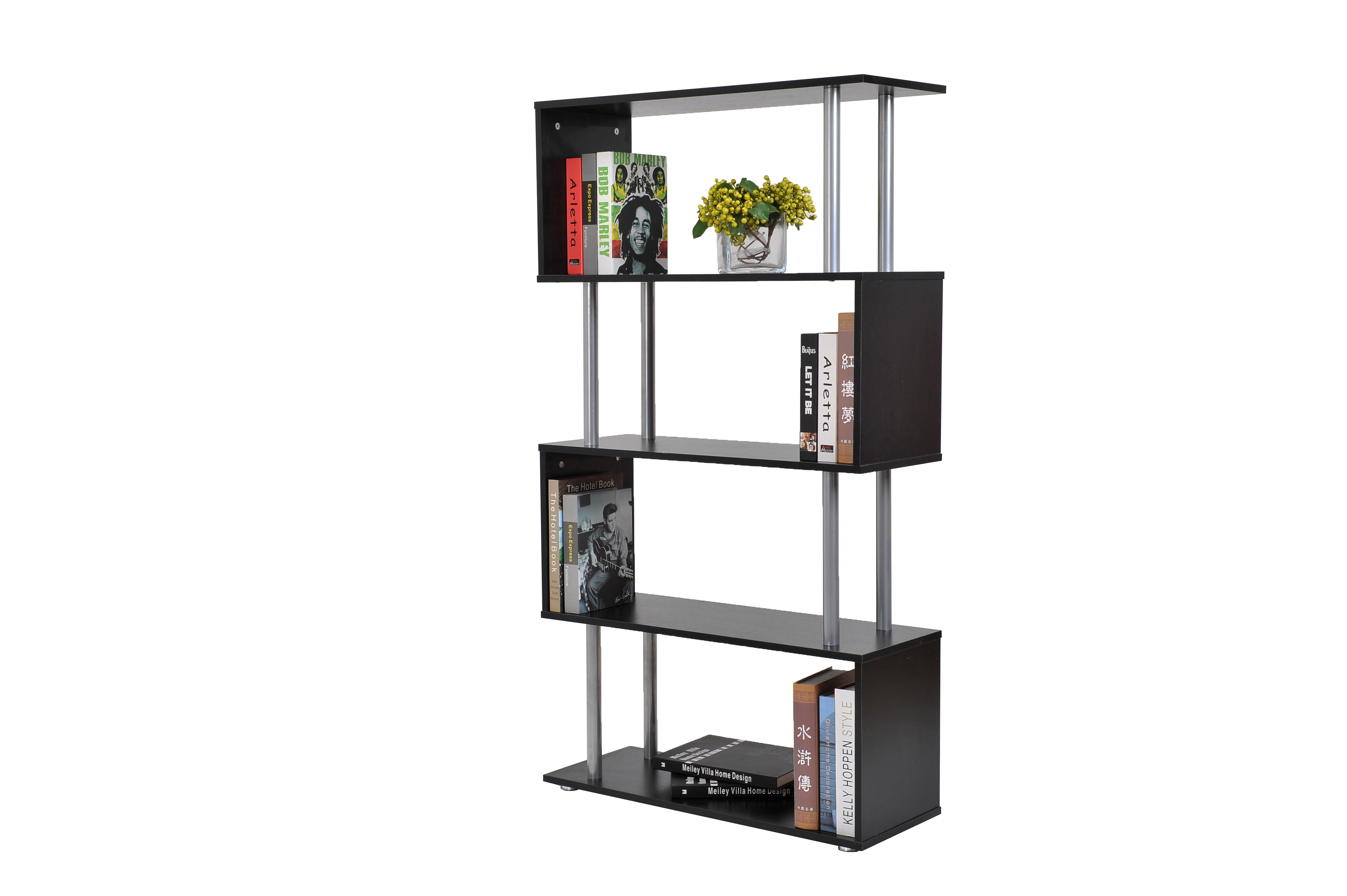 s-shaped-4-shelf-bookshelfblack